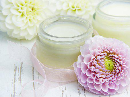 Cream, Skin Cream, Glass, Flowers