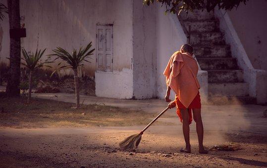 Monk, Monastery, Sweep, Clean, Broom