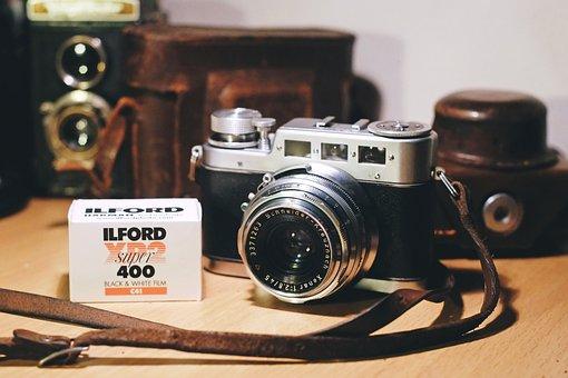 カメラ, 映画, 写真, ビンテージ, 古い, レトロ, 技術, アナログ