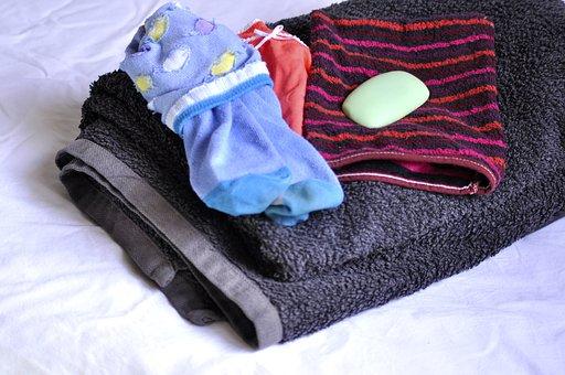 朝, ルーチン, 靴下, 下着, タオル, シャワー, ホーム, お風呂