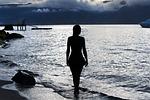 dziewczyna, zachód słońca, sea ocean