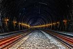 tunel, pociąg, lodu