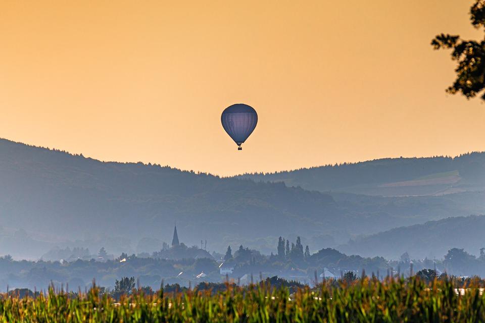 Balloon, Flying, Flight, Sky, Sunset, Summer, Landscape