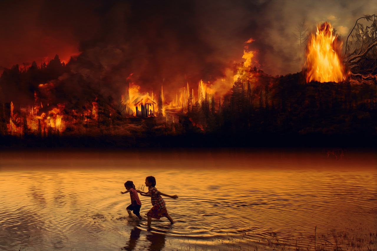 Children near Amazon Forest Fire