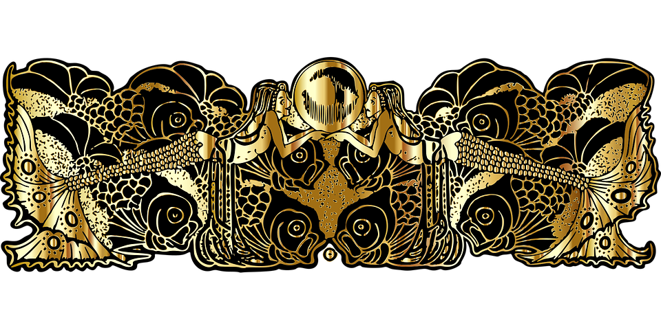 Mermaid, Divider, Gold, Separator, Vintage, Old, Retro