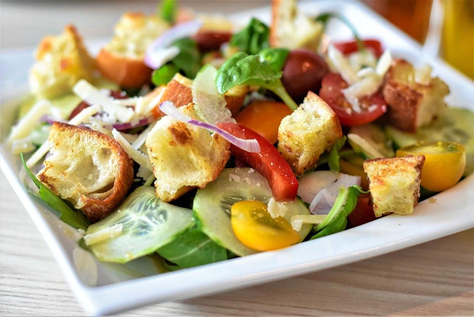 Salad, Bread Salad, Bread, Baguette, Tomatoes, Arugula
