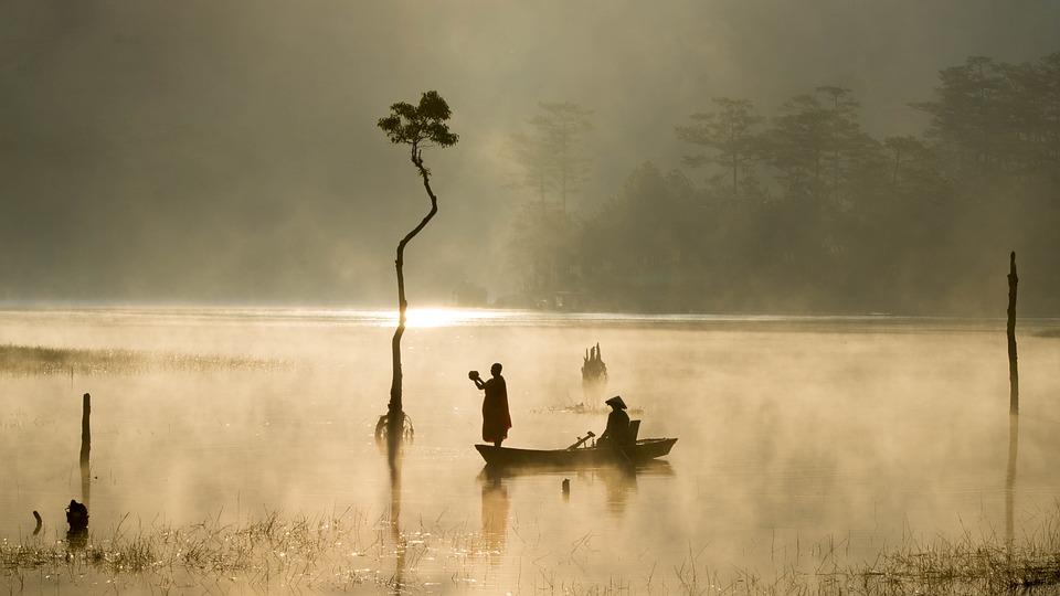 湖, アジア, ボート, 屋外, 日当たりの良い, 水, 人, 漁師, 霧, ツリー