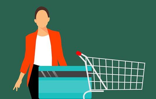 ショッピング, クレジット, カード, 女性, 顧客, 買い物客, 購入