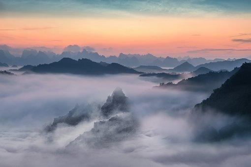 霧, 日没, 空, 風景, 山, 雲, ズームの背景, 壁紙, 青色の背景色