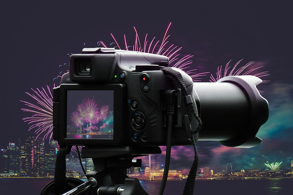 Camera, Fireworks, City, Flashes