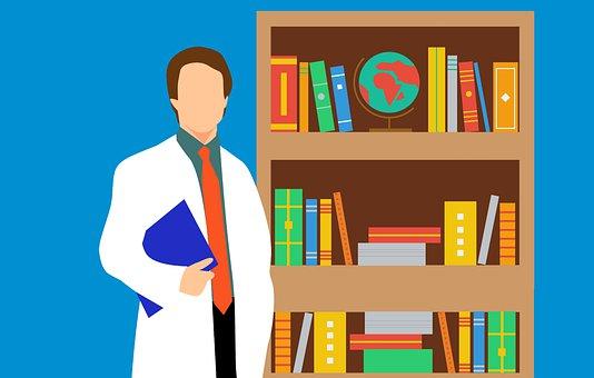 Professor, Biblioteca, Livro, Médico