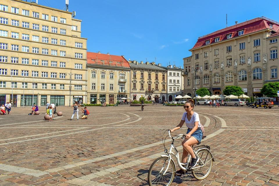 Quadrat, Fahrrad, Mädchen, Gebäude, Architektur, Stadt