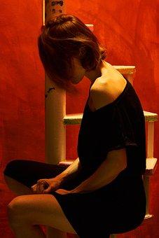 アート, 女, 赤, ブラック, ドレス, うつ病, のみ, 悲しみ, シングル