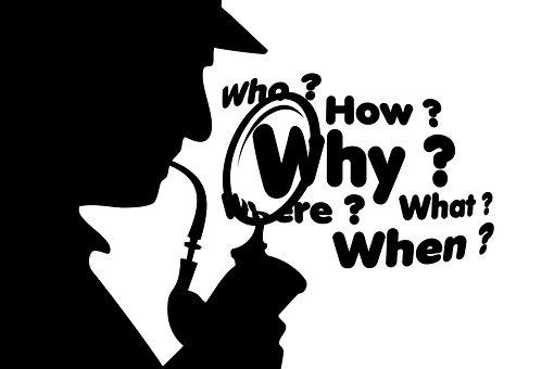 質問, シャーロック·ホームズ, 誰, 何, どのように, なぜ, どこ, 問題
