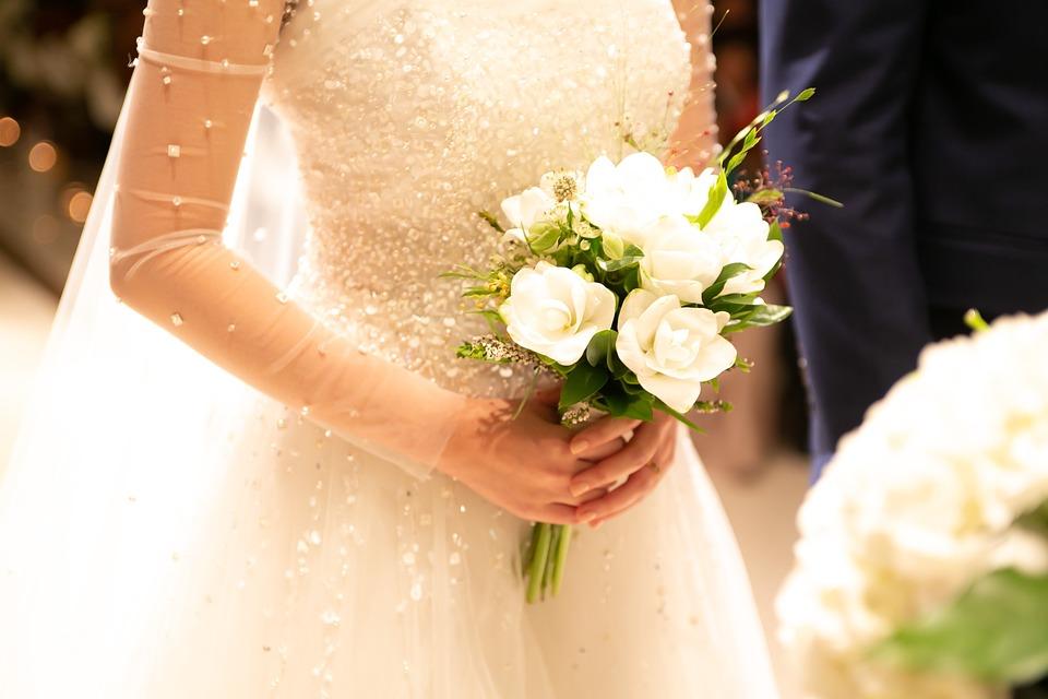 ウェディング, ブーケ, 花嫁, 花, ウェディングドレス