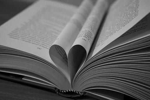 爱, 本书, 阅读, Bñ, 黑色和白色, 心脏, 浪漫, 感情, 真爱, 符号
