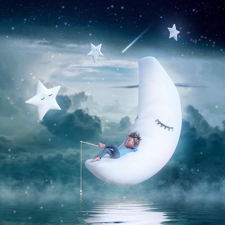 Moon, Star, Boy, Fishing, Dream, Dreamy, Clouds