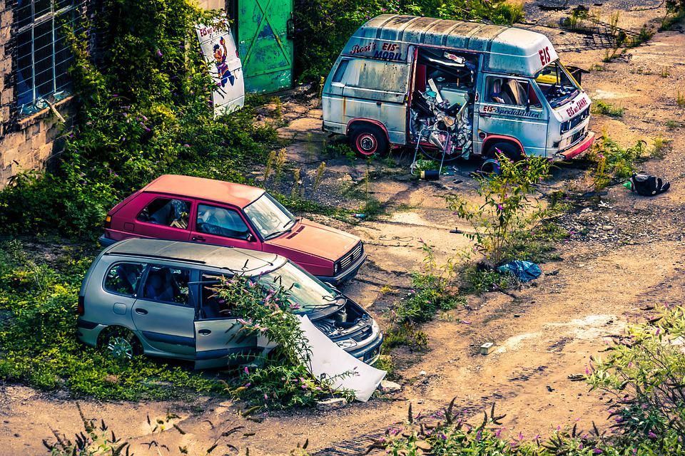Autos, Scrap, Cannibalize, Backyard, Ice Cream Van