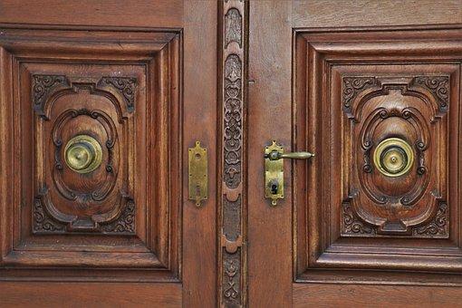 Maçaneta da porta, entrada, entalhada, antes
