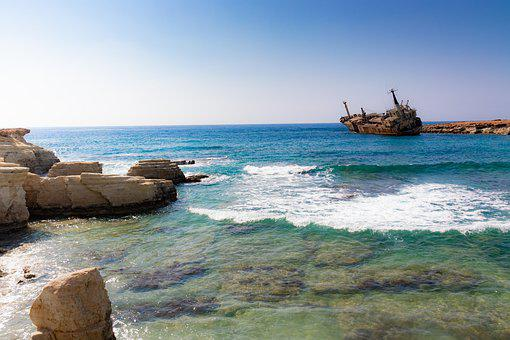 Edro, Wreck, Paphos, Sea, Ship, Cyprus
