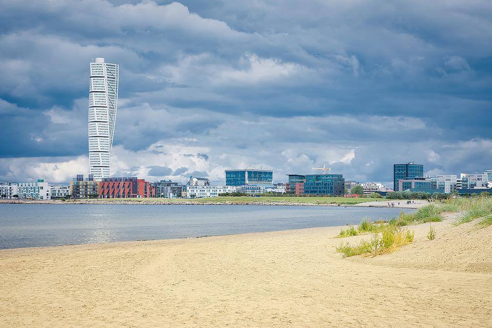 Malmo, Turning Torso, Риберсборг, Beach, Ocean, Morze