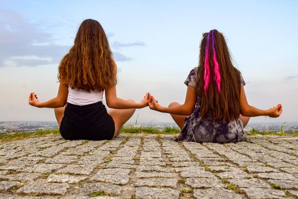 Meisjes, Meditatie, Yoga, Ontspanning, Ontspannen