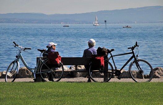 Bench, Bodensee, Senior, Bike, Meeting