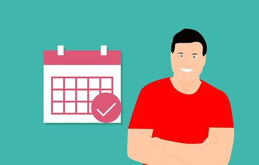 カレンダー, マーク, 男, 幸せ, 仕事, 漫画, 期限, 迷惑, 終了