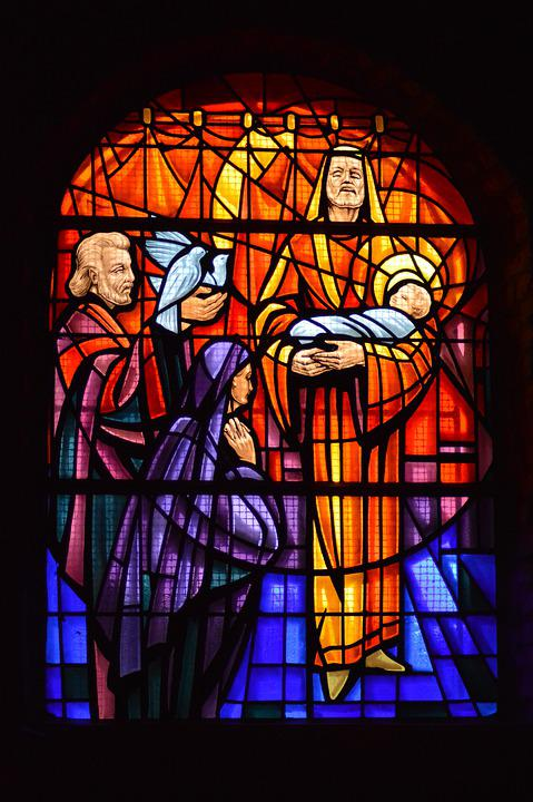 Stained Glass, Window, Church, Jesus, Baby, Parents