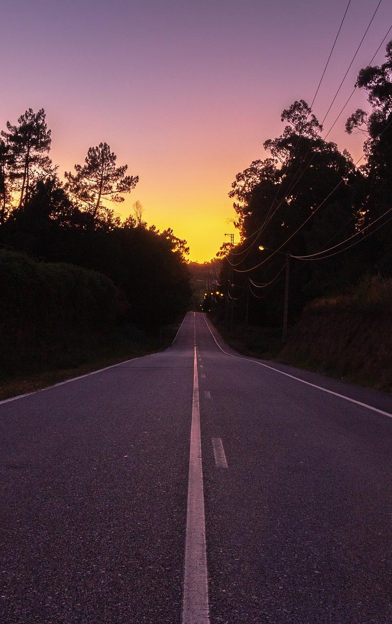 Sunset Road Horizon Vanishing Free Photo On Pixabay