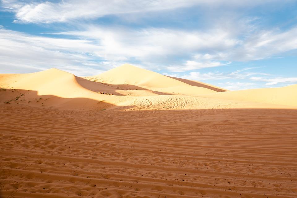 Maroko, Pustyni Sahara, Pustynia, Wieś Merzouga