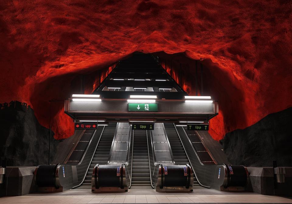 ストックホルム、スウェーデン、地下鉄、駅、地下鉄、地下
