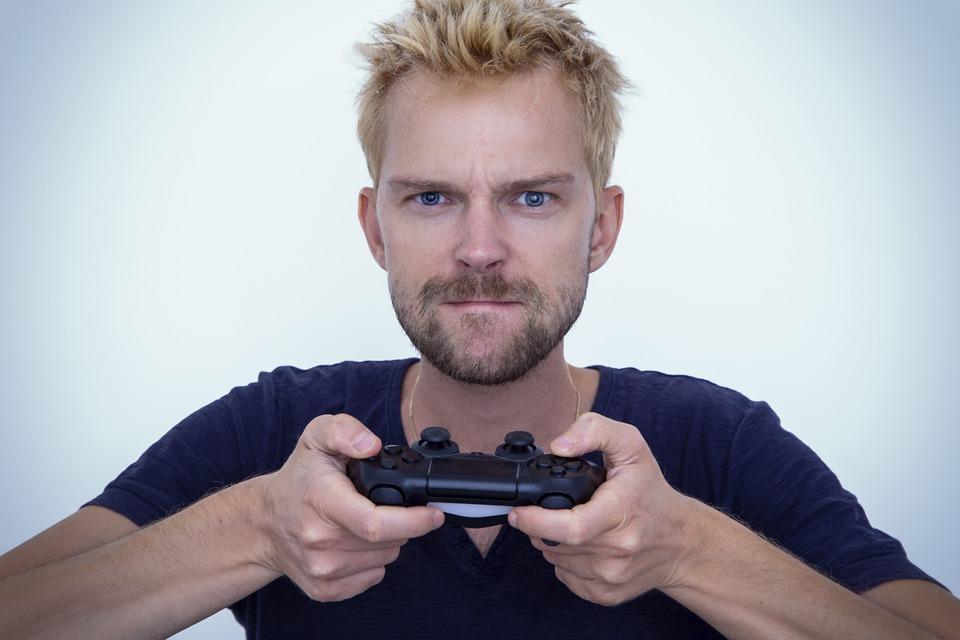 ゲーム, 男, ゲーマー, 再生, プレーヤー, 戦略, 楽しい, 技術, 大人, 男性, 若いです