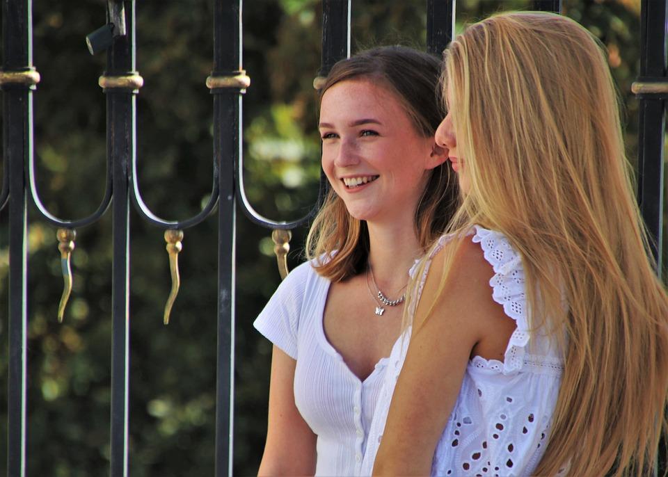 幸せです, 2, 彼女, 髪型, すてきな, 幸福, 髪, 若い, 笑顔, 女の子, 喜怒哀楽, 顔