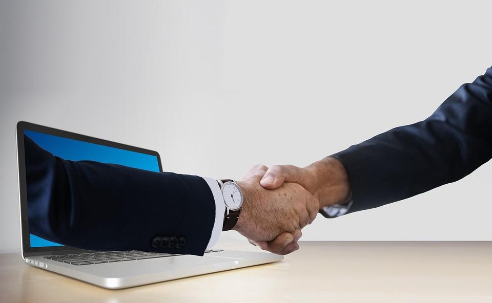 ハンドシェイク, 手, ノート パソコン, モニター, オンライン, デジタル, パートナー, ビジネスマン