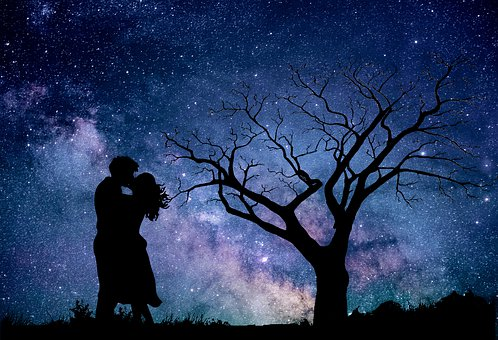 Night, Astronomy, Sky, Couple, In Love