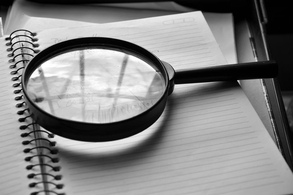 虫眼鏡, ノート, 詳細, 作業, の監査