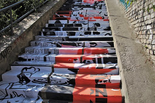 Stone, Bratislava, Stairs, Graffiti