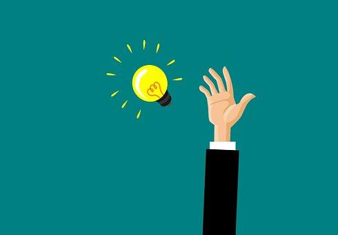 達する, アイデア, コンセプト, ビジネス, 光, 電球, 人間, グラブ