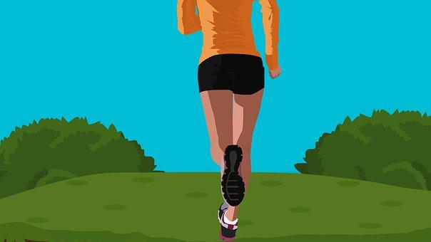 アクティブ, 公園, 女性, スポーツ, 外, 女の子, 健康, ジョギング