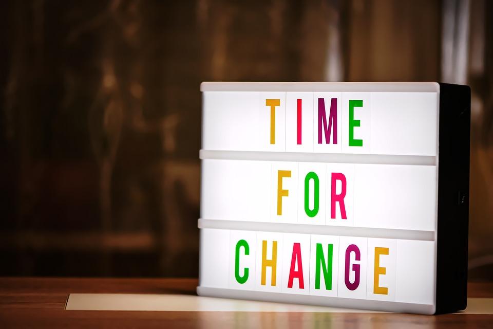 変更の時間, 新しい方法, 文字, 単語, フォント, ライトボックス, と言って, テキスト, 過去, 写真