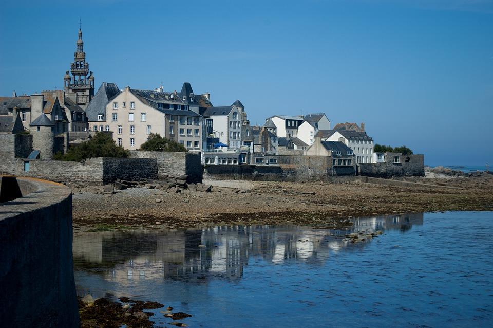 Mer, Bretagne, France, Côte, Paysage, Port, Roscoff