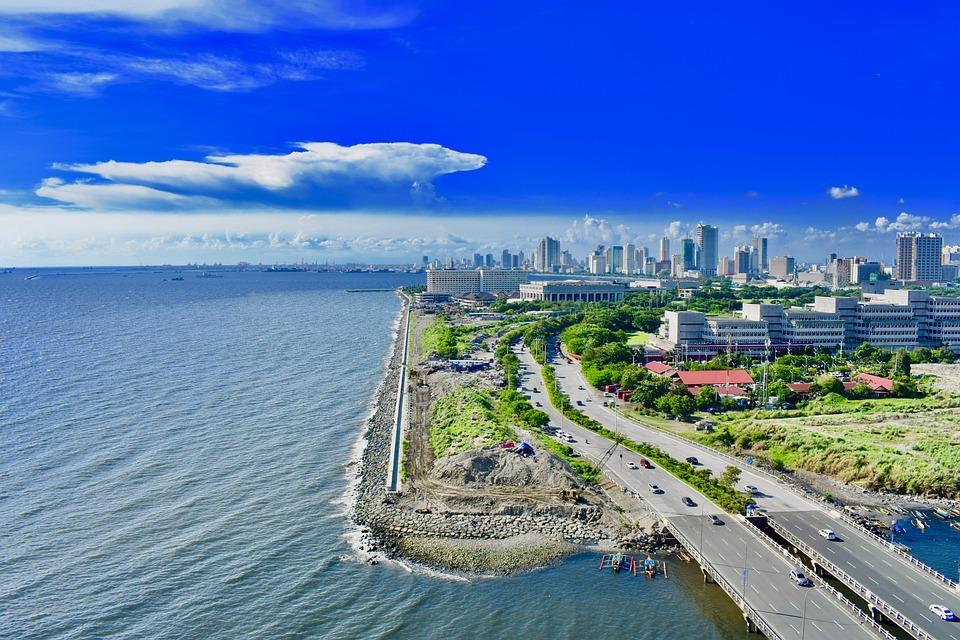Manila, City, Philippines, Building, Tower, Sea