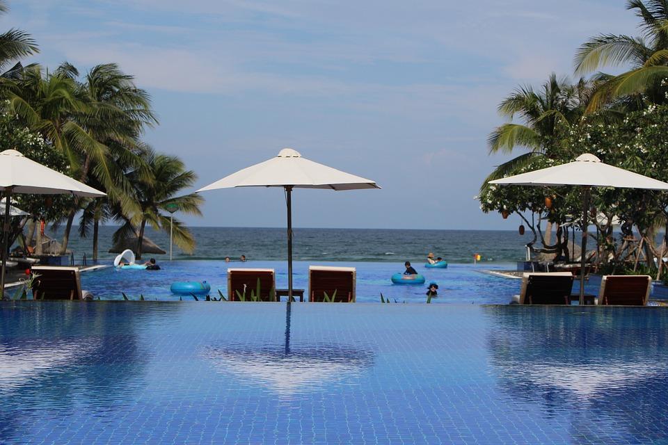 Swimming Pool, Sun Bed, Parasol, Water, Nature, Summer