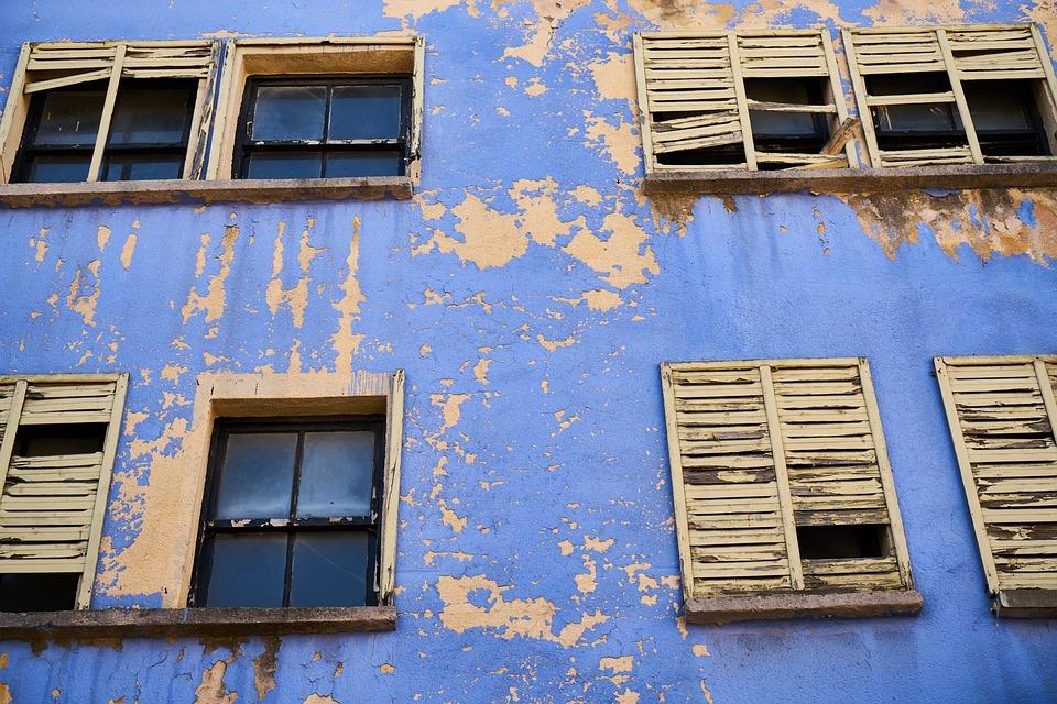 ホーム, 建物, 古い, 破滅, 黄色, 青, ウィンドウ, 塗料, 漆喰, セメント, 地震
