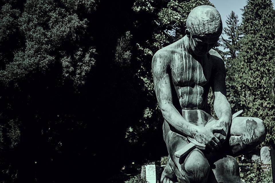 Standbeeld, Sculptuur, Een, Bomen, Lichaam, Schaduw