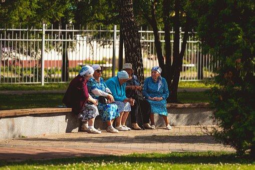 年金受給者, 古い, シニア, 高齢者, おばあちゃん, 女性, 引退, 公園
