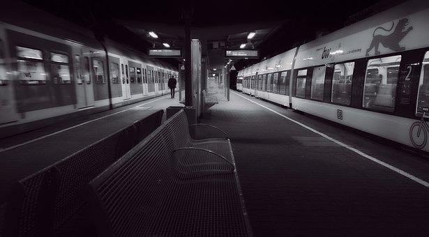 終電, プラットフォーム, 夜, 電車, トランスポート