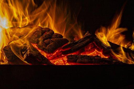 火災, レッド, Ember, 木材, 燃える, 夜, 燃焼