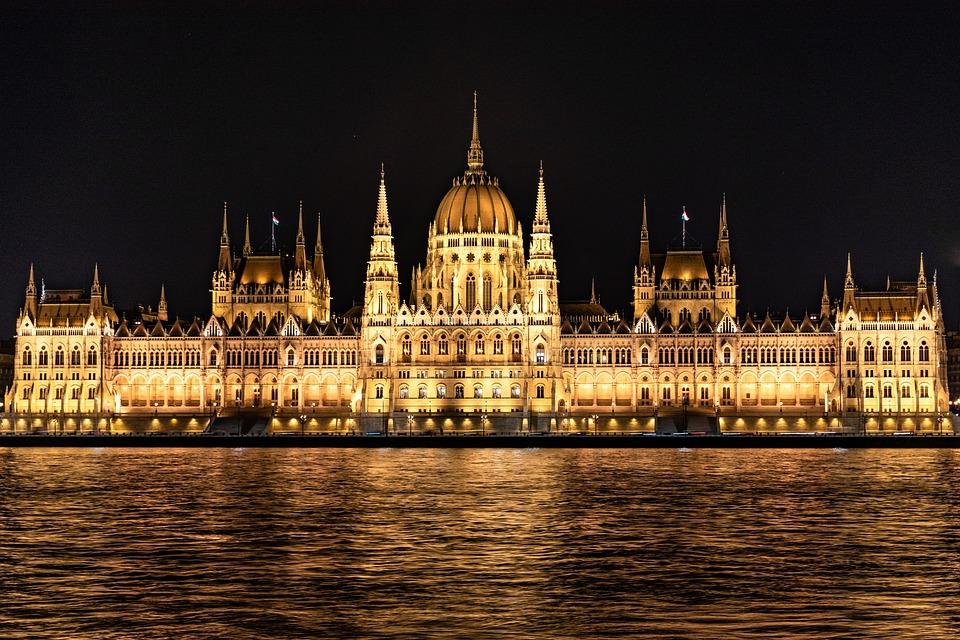 議会, ブダペスト, ハンガリー, 川, 泊, ライト, 建物